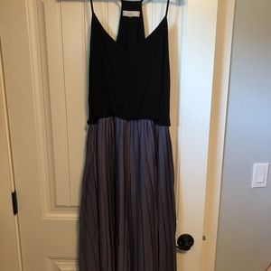 Black and purple midi dress from The Loft.